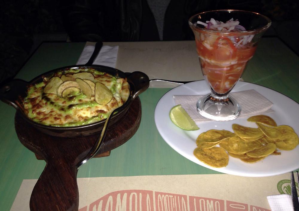 mazorcada y ceviche en Mercado, restaurante en Bogotá