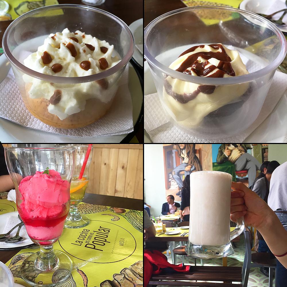 Postres y bebidas colombianas en Bogotá