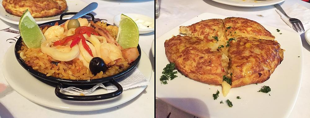 Paella y otros platos de la Puerta de Alcalá