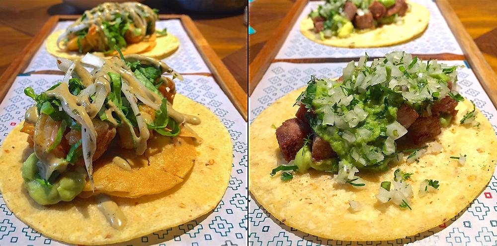 Tacos camarón y carnitas en Cantina y Punto