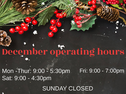 Euphrates Clinics December operating hours