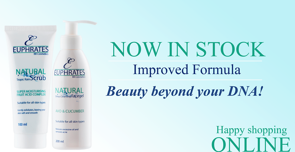 Euphrates Cosmetics. Tropic Rain Scrub. Deep Cleansing Facegel. Natural Products