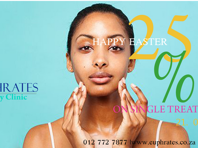 Easter special from Wednesday to Saturday 15% to 25% discount on products and treatments.