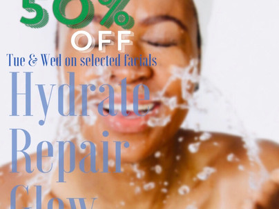 SPRING FIX - TUE & WED'S 50% DISCOUNT ON FACIAL TREATMENTS.