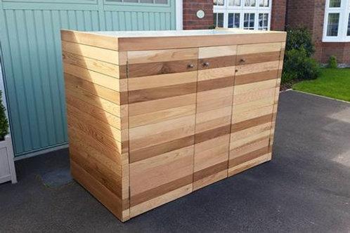 Cedar Clad Wheelie Bin Store with Recycling