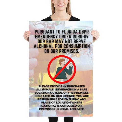 2020 No Consumption on Premises Poster