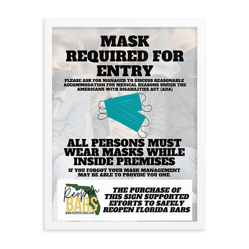 Masks Required Framed poster