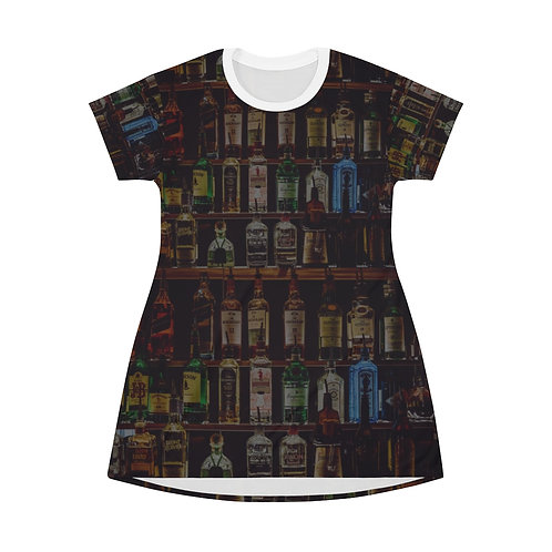 Booze Bottle All Over Print T-Shirt Dress