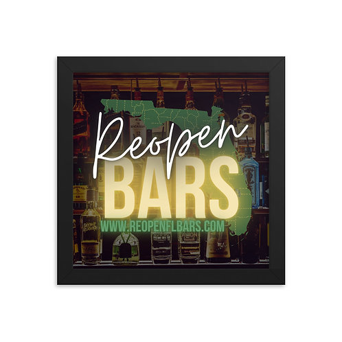 REOPEN FL BARS Framed poster