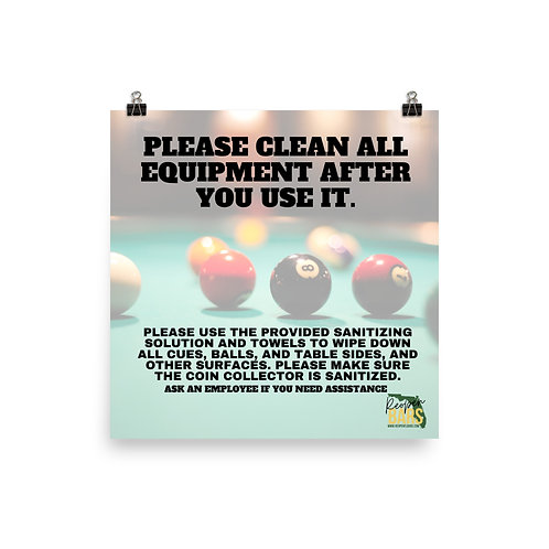 Clean Pool Tables Poster
