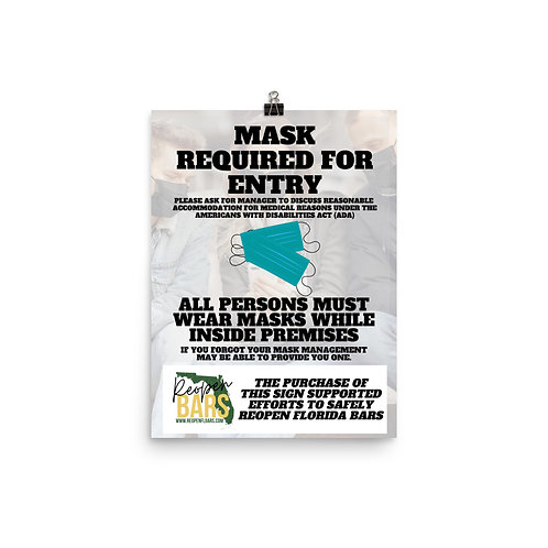 Masks Required for Entry Poster (Full Color)