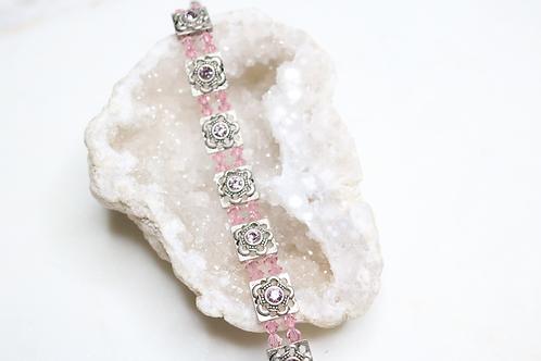 rose bracelet, pink bracelet, beaded bracelet, stone bracelet, floral bracelet, crystal bracelet, costume jewelry, fashion