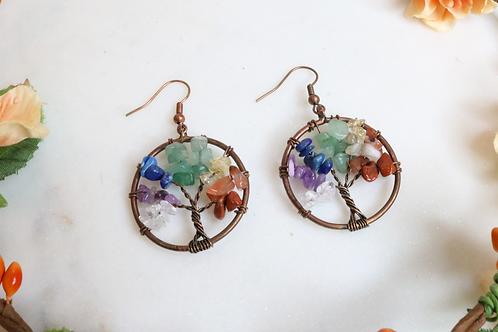 earrings, tree of life earrings, glass earrings, lightweight earrings, colorful earrings, jewelry, fashion accessory
