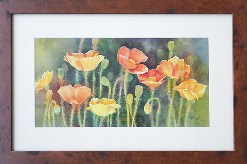 painting, wall art, wall decor, wall painting, water color painting, water color art, poppy painting, floral painting,poppies