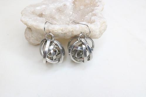 earrings, metal earrings, sphere earrings, aluminum earrings, women's jewelry, ladies' jewelry, North Carolina jewelry,