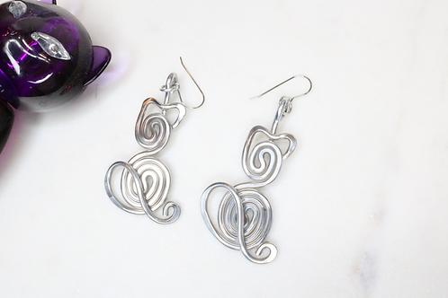 cat earrings, kitty cat earrings, kitten earrings, metal earrings, women's earrings, pet lover earrings, aluminium earrings,