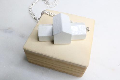 Building pendant, white house pendant, white pendant, architecture pendant, whimsical pendant, playful pendant,