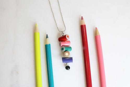 pendant, necklace pendant, teacher's pendant, teacher's necklace, colored pencil necklace, artist necklace, drawers necklace