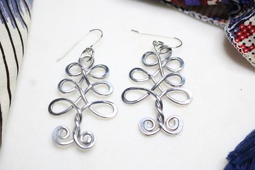 earrings, silver earrings, aluminium earrings, tree earrings, costume jewelry, fashion jewelry, fashion accessory, dangling