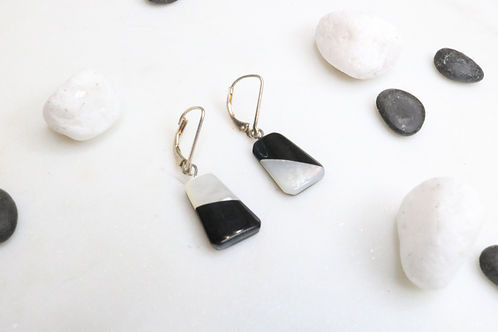 earrings, black and white earrings, jewelry, costume jewelry, fashion accessories,shell earrings, silver earrings