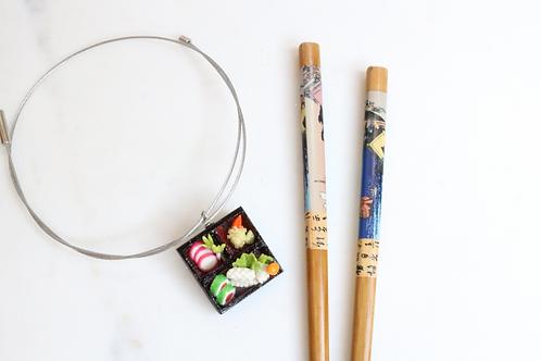 pendant, necklace, statement piece,sushi jewelry, sushi pendant, costume jewelry, fashion accessory, food jewelry,