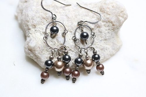 earrings, brown earrings, dangle earrings, beaded earrings, jewelry, silver earrings, dangling earrings, hanging earrings,