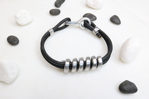 leather twist bracelet,twist bracelet,recycled metal bracelet,whimsical bracelet,North Carolina jewelry, aluminium bracelet