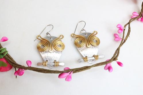 owl earrings, animal earrings, metal earrings,bird earrings, recycled earrings, animal lover earrings, statement piece, owl