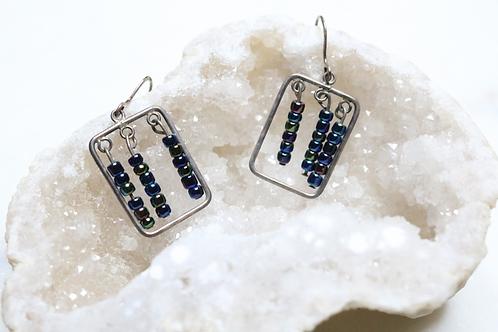 earrings, silver earrings, dangle earrings, beaded earrings, square earrings, silver jewelry, jewelry, fashion accessory