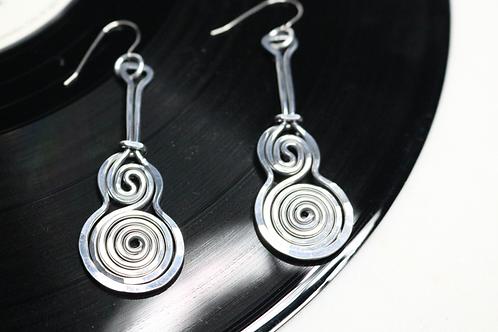 earrings, whimsical earrings, music earrings, musical earrings, guitar earrings, dangling earrings, silver earrings,jewelry