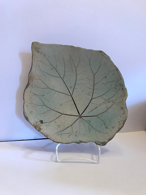 decorative plate, leaf plate, green plate, serving plate, serving dish, unique serving dish, glass plate, ceramic plate,