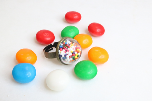 Bubble gum rings, cake sprinkle rings, whimsical rings, playful ring, kids rings, North Carolina jewelry, NC jewelry