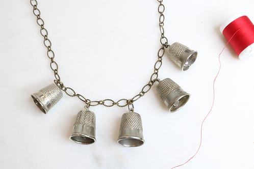 necklace, pendant, fashion accessory, statement piece, thimble necklace, sewers necklace, costume jewelry, thimble pendant,