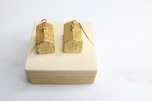gold earrings, hotel earrings, building earrings, whimsical earrings, North Carolina earrings, NC earrings, playful earrings,