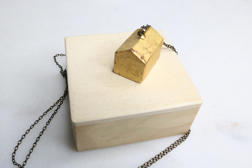 gold pendant, building pendant, hotel pendant, rectangle pendant, North Carolina jewelry, NC jewelry, whimsical jewelry
