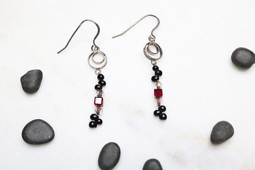 earrings, dangling earrings, beaded earrings, silver earrings, whimsical earrings, jewelry, silver jewelry, costume jewelry