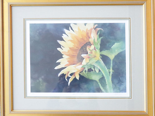 painting, wall art, wall hanging, wall decor, watercolor painting, watercolor, Alexis Lavine art, Lavine painting, sunflower