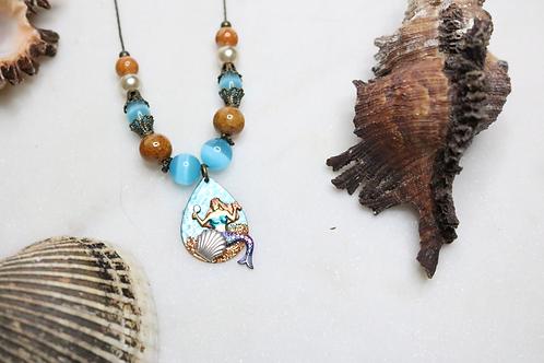 jewelry, necklace, statement piece, mermaid jewelry, mermaid necklace, mermaid pendant, costume jewelry, fashion accessory