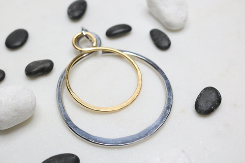 Mixed Metal Circle Double Pendant