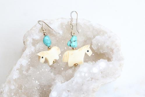 earrings, women's jewelry, animal jewelry, turquoise jewelry, whimsical jewelry, horse jewelry, dressage jewelry,