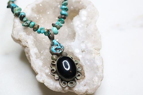 necklace, beaded necklace, onyx necklace, turquoise necklace, aqua necklace, black necklace, statement piece, pendant,jewelry