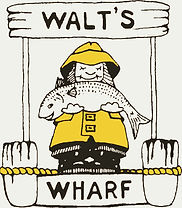 Walt's Wharf logo. A smiling fisherman wearing yellow rain gear stands on a dock with the words Walt's Wharf written on it. He holds a smiling fish.