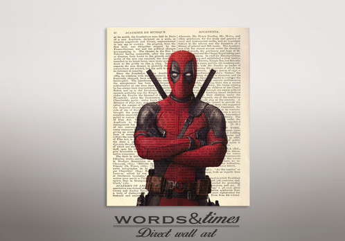 Deadpool Poster Print Canvas Bedroom Art Wall PicturesDeadpool Dictionary Prints This Listing Is