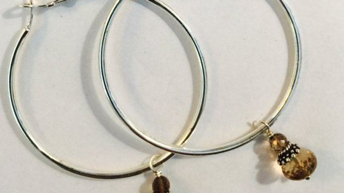 Sterling silver hoops with citrine and topaz