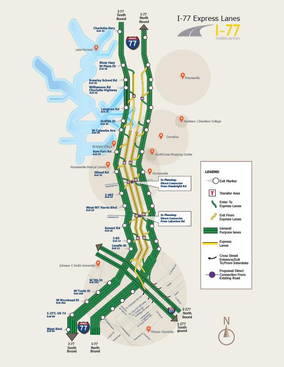 I77 Managed Lane Map