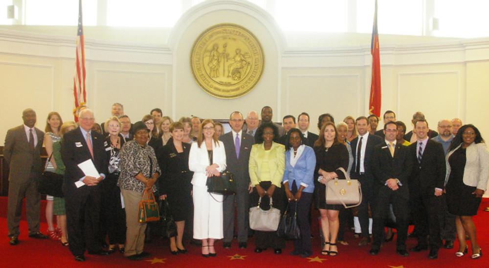 Charlotte-area Realtors® on the Senate Floor with Jeff Tarte on NCAR Legislative Day