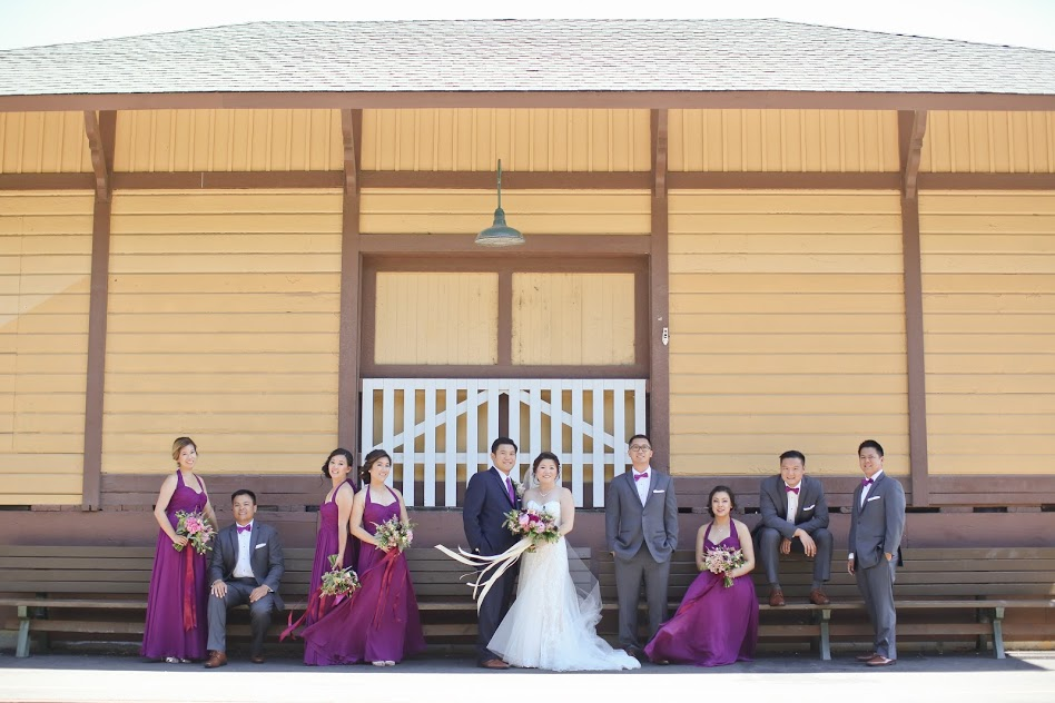 Bridal Party in front of train station