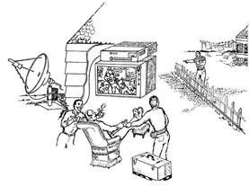 early-satellite-tv-scene-black-and-white