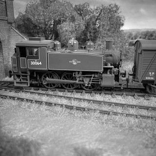 An often seen view of Great Coles Wood with locomotives captured between stock movements. Here ex-SR USA Class No 30064 shunts planked van No 65636.  Due to the isolated nature of the siding, it was utilised heavily during the Second World War with unused passenger stock and trainloads of military equipment stored away from prying eyes and bombs falling on the cities