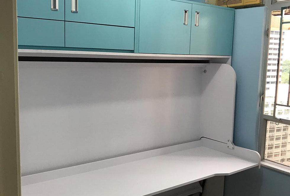 客人訂制  4尺闊書桌隱形床連吊衣櫃 實物圖片#636